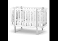 Детская кроватка ЛД-5 Монако на колесиках  бело-серая