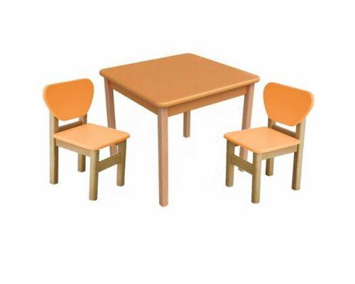 Комплект столик и 2 стульчика дерево/пленка МДФ оранжевый - Фото №1