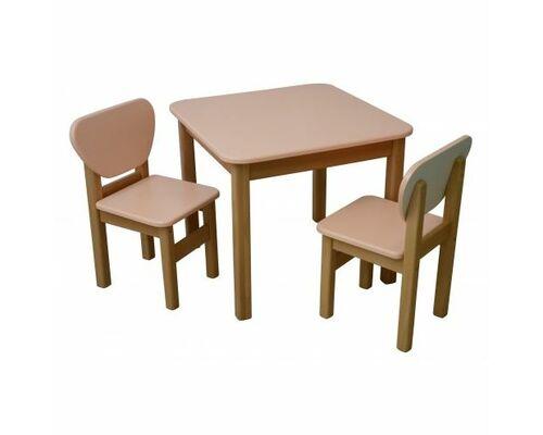 Комплект детский стол и 2 стульчика дерево/пленка МДФ персиковый - Фото №1