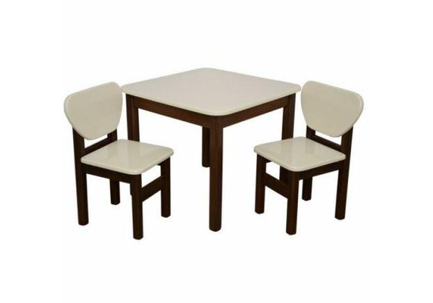 Комплект в детскую стол и 2 стульчика дерево/пленка МДФ слоновая кость-орех - Фото №1