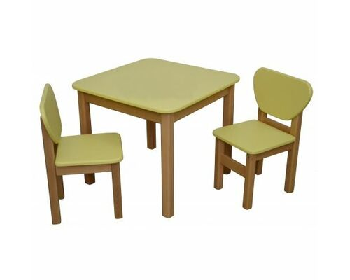 Детский комплект столик и 2 стульчика дерево/пленка МДФ желтый - Фото №1