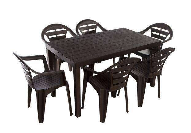 Набор стол Sumatra + 6 кресел MOYO коричневый - Фото №1