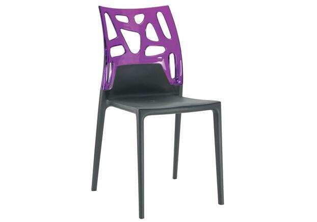 Кресло барное пластиковое Ego-Rock верх прозрачный пурпур/сиденье черное  - Фото №1