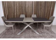 Фото Стол обеденный PORTLAND (160/210*95*76cmH) стеклокерамика мокко/баклажан