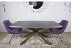 Фото Стол обеденный PORTLAND (160/210*95*76cmH) стеклокерамика мокко/баклажан (НОГИ ОЛОВО)