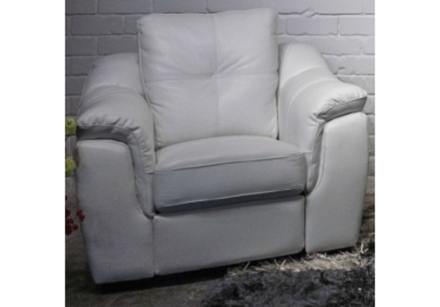 Кресло Бостон 3095 A 032-77 белый из натуральной кожи с перфорацией  - Фото №1