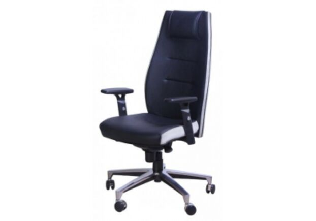 Кресло Элеганс HB черный/бок-ны, задник белый (синхромеханизм) - Фото №1