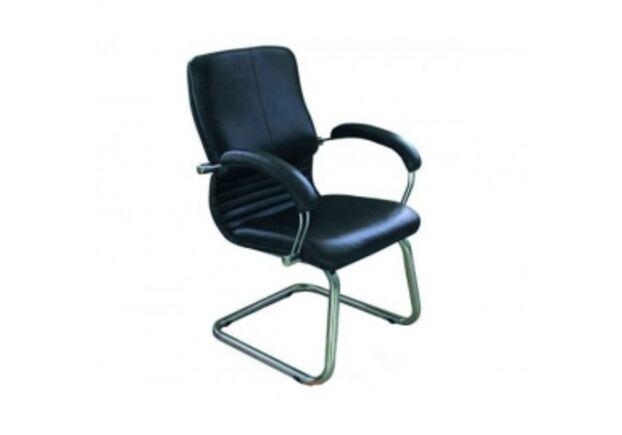 Кресло Ника CF хром кожа Cплит черная - Фото №1