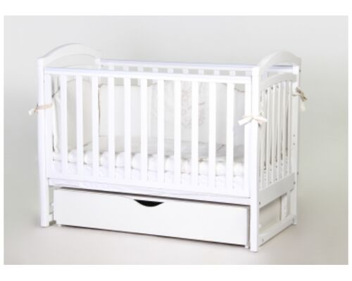 Детская кроватка Соня ЛД6 белая маятник с ящиком - Фото №1