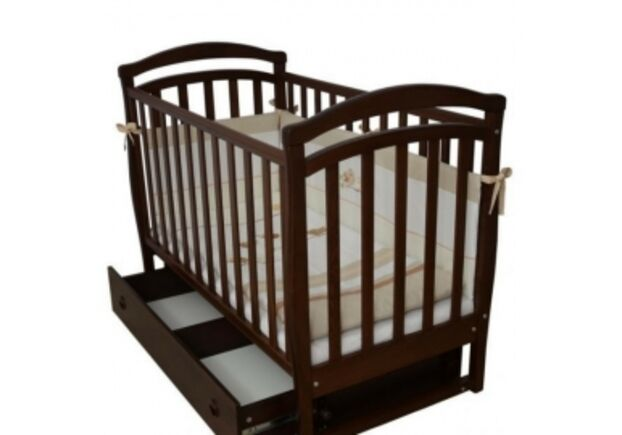 Детская кроватка Соня ЛД6 цвет орех маятник с ящиком   - Фото №1