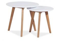 Набор из двух столиков Milan S4 Signal дуб/белый