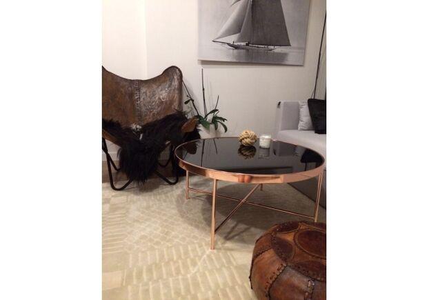Кофейный круглый стол Gina B Signal d82*h40 черный/медь - Фото №2