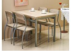 Обеденный комплект (стол+4 стула) Astro Signal алюмний/дуб сонома