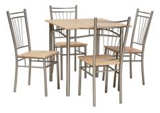 Обеденный комплект (стол+4 стула) Fit Signal алюмний/дуб сонома