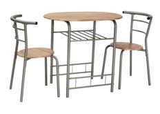 Обеденный комплект (стол+2 стула) Gabo Signal алюмний/МДФ дуб сонома