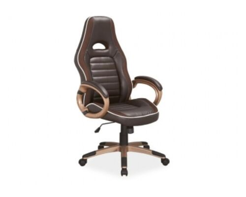 Кресло Q-150 Signal механизм Tilt экокожа коричневая с белым кантом - Фото №1