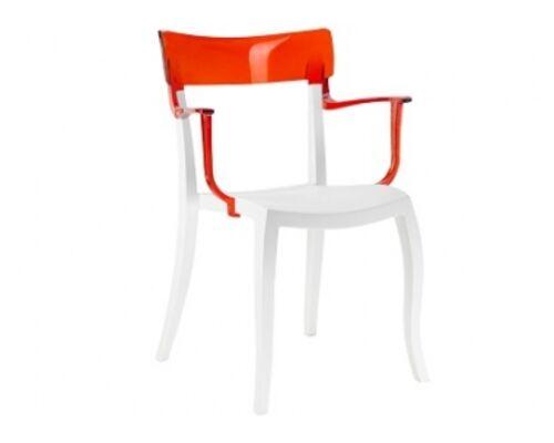 Кресло барное пластиковое Hera-K  верх прозрачно-красный/сиденье белое - Фото №1