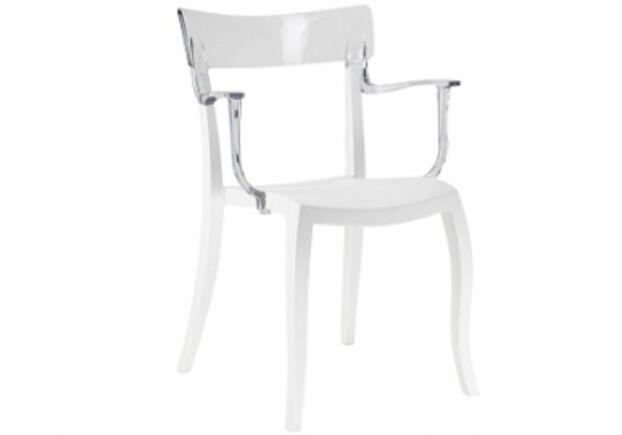 Кресло барное пластиковое Hera-K  верх прозрачный/сиденье белое - Фото №1
