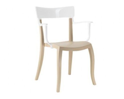 Кресло барное пластиковое Hera-K  верх белый/сиденье пещано-бежевое - Фото №1