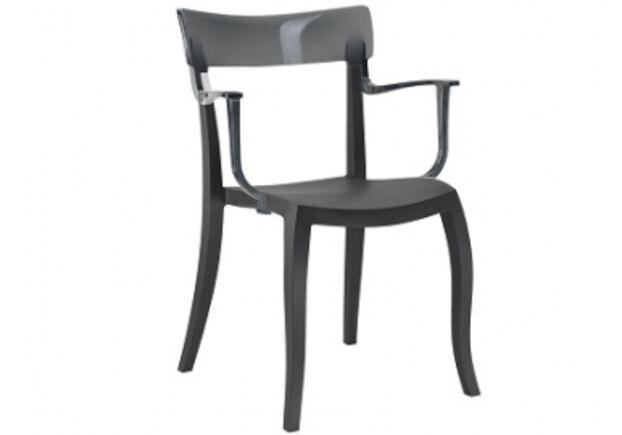 Кресло барное пластиковое Hera-K  верх прозрачно-дымчатый/сиденье черное - Фото №1
