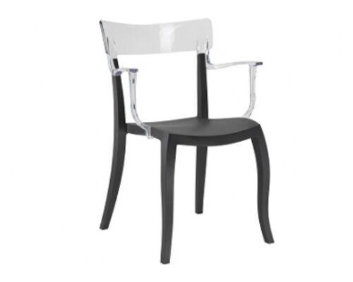 Кресло барное пластиковое Hera-K  верх прозрачный/сиденье черное - Фото №1
