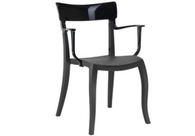 Кресло барное пластиковое Hera-K  верх черный/сиденье черное - Фото №1