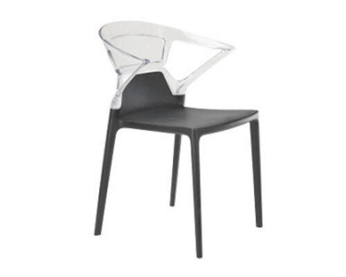 Кресло барное пластиковое Ego-K верх прозрачный/сиденье антрацит - Фото №1