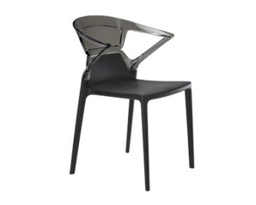 Кресло барное пластиковое Ego-K верх прозрачно-дымчатый/сиденье черное - Фото №1