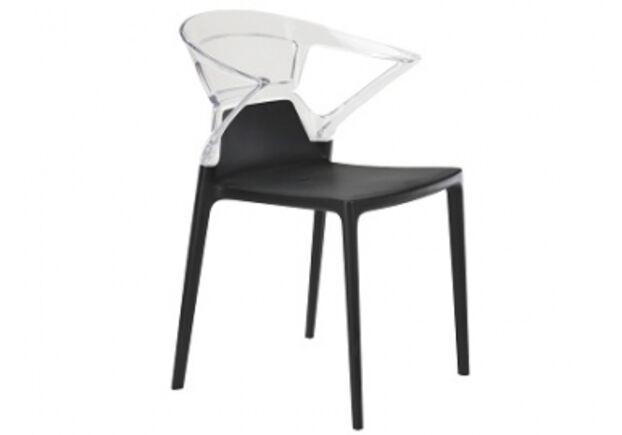 Кресло барное пластиковое Ego-K верх прозрачный/сиденье черное - Фото №1