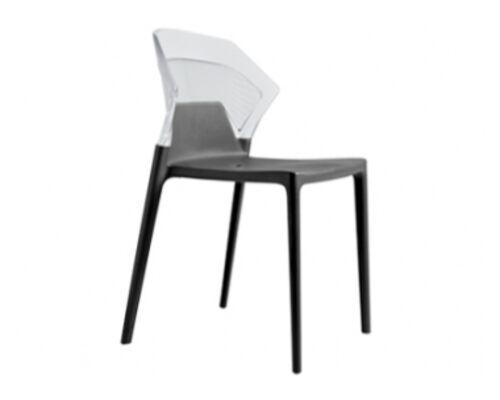 Кресло барное пластиковое Ego-S верх прозрачный/сиденье антрацит - Фото №1