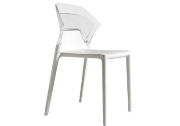 Кресло барное пластиковое Ego-S верх прозрачный/сиденье белое - Фото №1