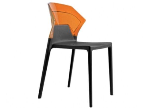 Кресло барное пластиковое Ego-S верх прозрачно-оранжевый/сиденье черное - Фото №1