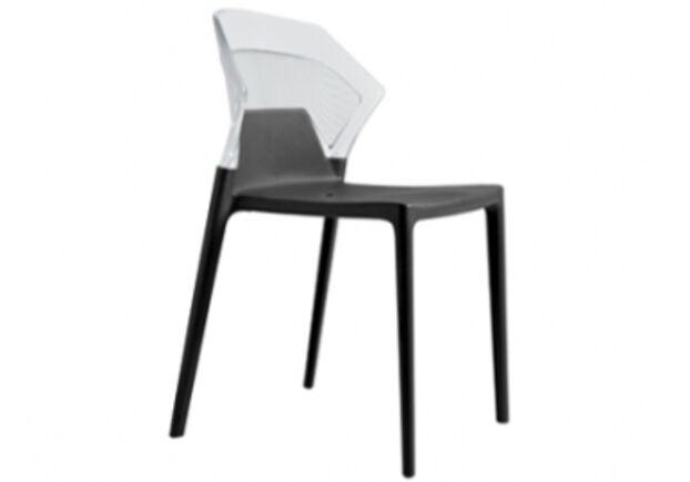 Кресло барное пластиковое Ego-S верх прозрачный/сиденье черное - Фото №1