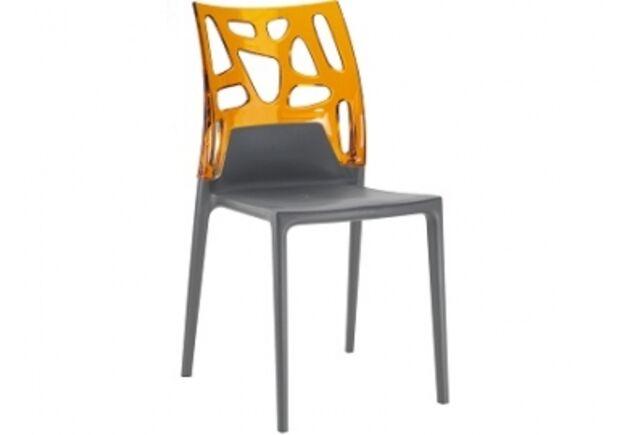 Кресло барное пластиковое Ego-Rock верх прозрачно-оранжевый/сиденье антрацит - Фото №1