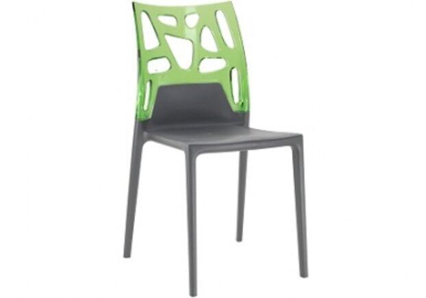 Кресло барное пластиковое Ego-Rock верх прозрачно-зеленый/сиденье антрацит - Фото №1