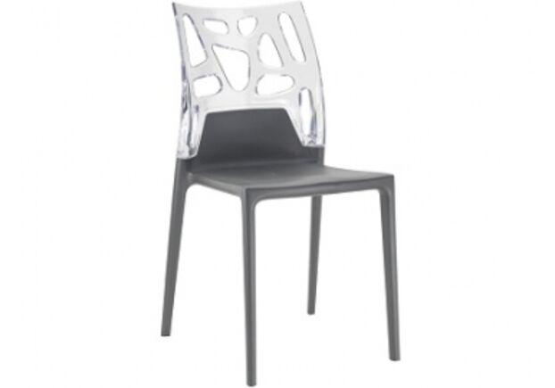 Кресло барное пластиковое Ego-Rock верх прозрачный/сиденье антрацит - Фото №1
