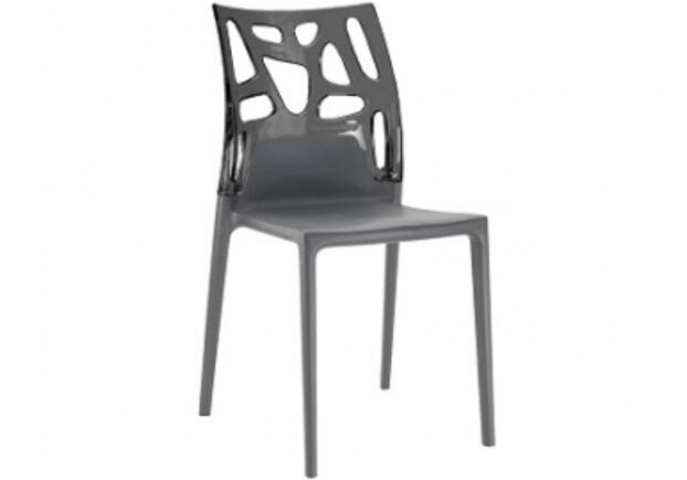 Кресло барное пластиковое Ego-Rock верх прозрачно-дымчатый/сиденье антрацит - Фото №1