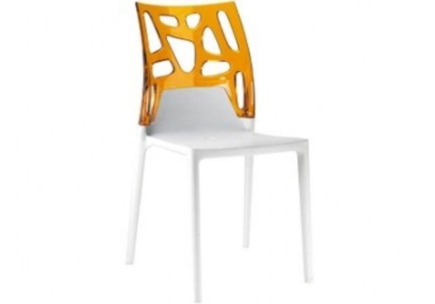 Кресло барное пластиковое Ego-Rock верх прозрачно-оранжевый/сиденье белое - Фото №1