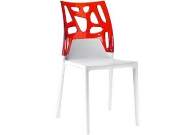 Кресло барное пластиковое Ego-Rock верх прозрачно-красное/сиденье белое - Фото №1