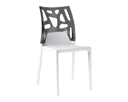 Кресло барное пластиковое Ego-Rock верх прозрачно-дымчатое/сиденье белое - Фото №1