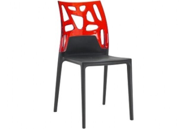 Кресло барное пластиковое Ego-Rock верх прозрачно-красный/сиденье черное - Фото №1
