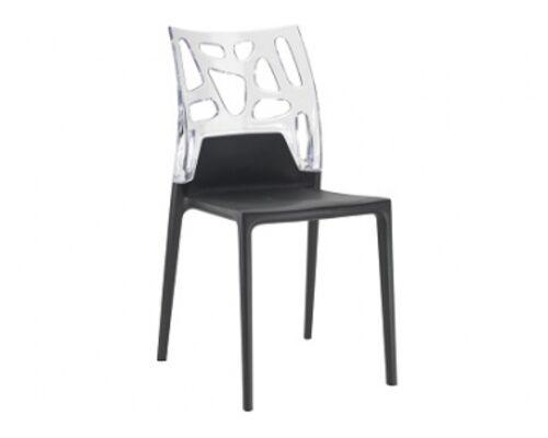 Кресло барное пластиковое Ego-Rock верх прозрачный/сиденье черное - Фото №1