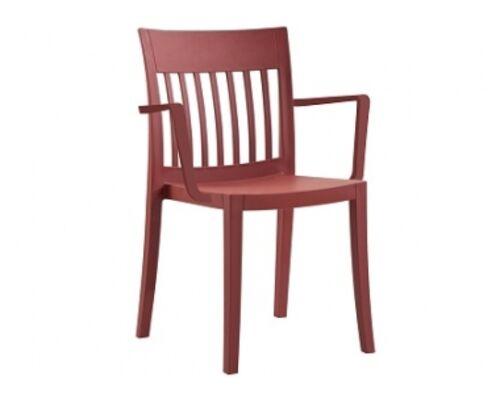 Пластиковый стул с подлокотниками Eden-K матовый красный кирпич - Фото №1