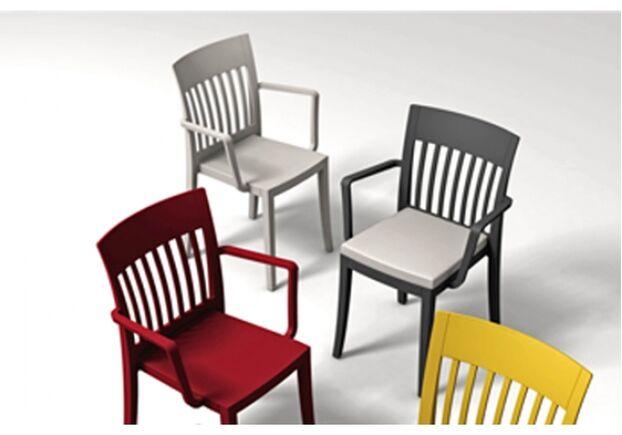 Пластиковый стул с подлокотниками Eden-K светло-серый - Фото №2