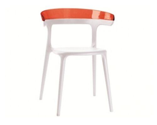 Стул пластиковый Luna верх прозрачно-красный/сиденье белое - Фото №1