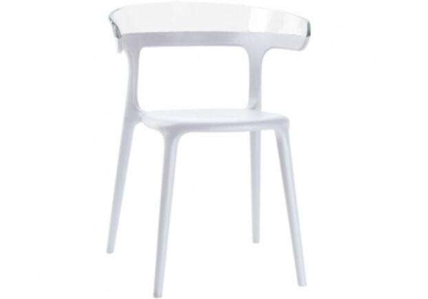 Стул пластиковый Luna верх прозрачный/сиденье белое - Фото №1