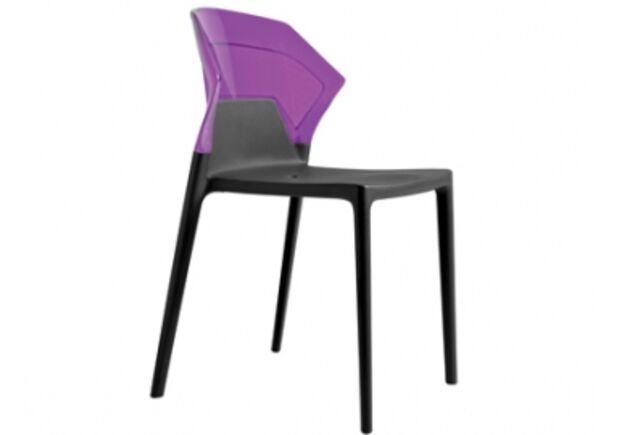 Кресло барное пластиковое Ego-S верх прозрачно-пурпурный/сиденье черное - Фото №1