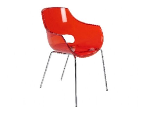 Кресло пластиковое Opal прозрачно-красное глянец / ножки хром - Фото №1