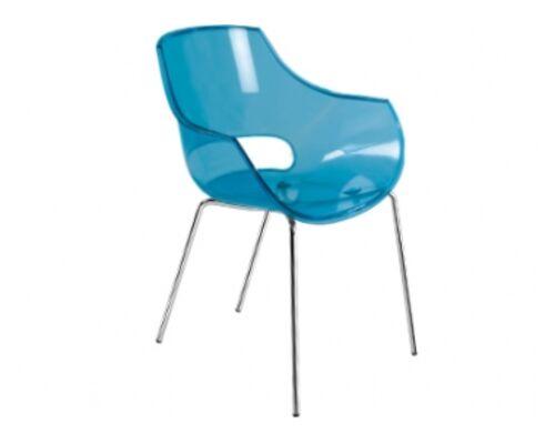 Кресло пластиковое Opal прозрачно-синее глянец/ ножки хром - Фото №1