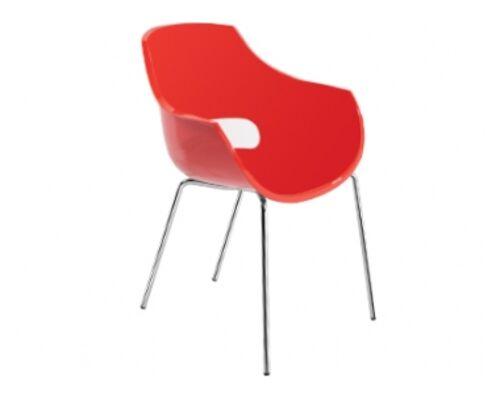 Кресло пластиковое Opal красное глянец/ ножки хром - Фото №1